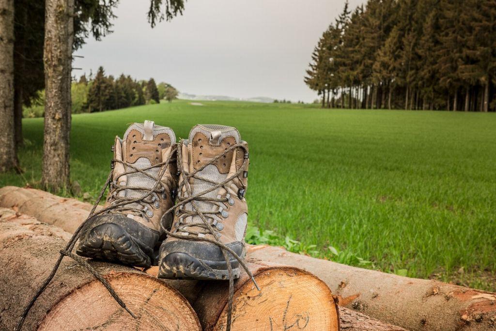 Wanderschuhe auf einem Holzstapel im Naturpark Frankenwald