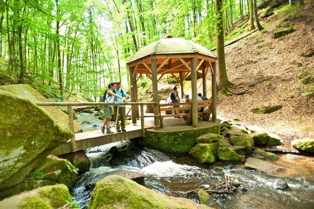 Wanderer auf dem Pfälzer Waldpfad pausieren am Pavillion in der Karlstalschlucht