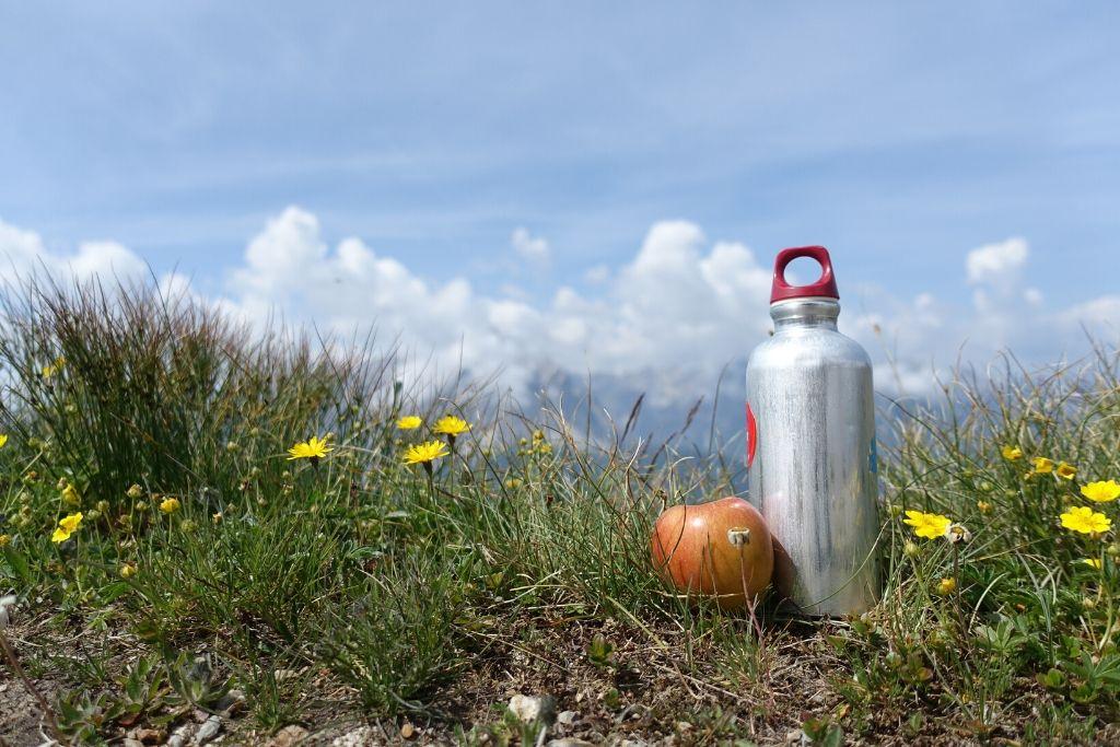 Apfel und Trickflasche für das Picknick auf der Almwiese