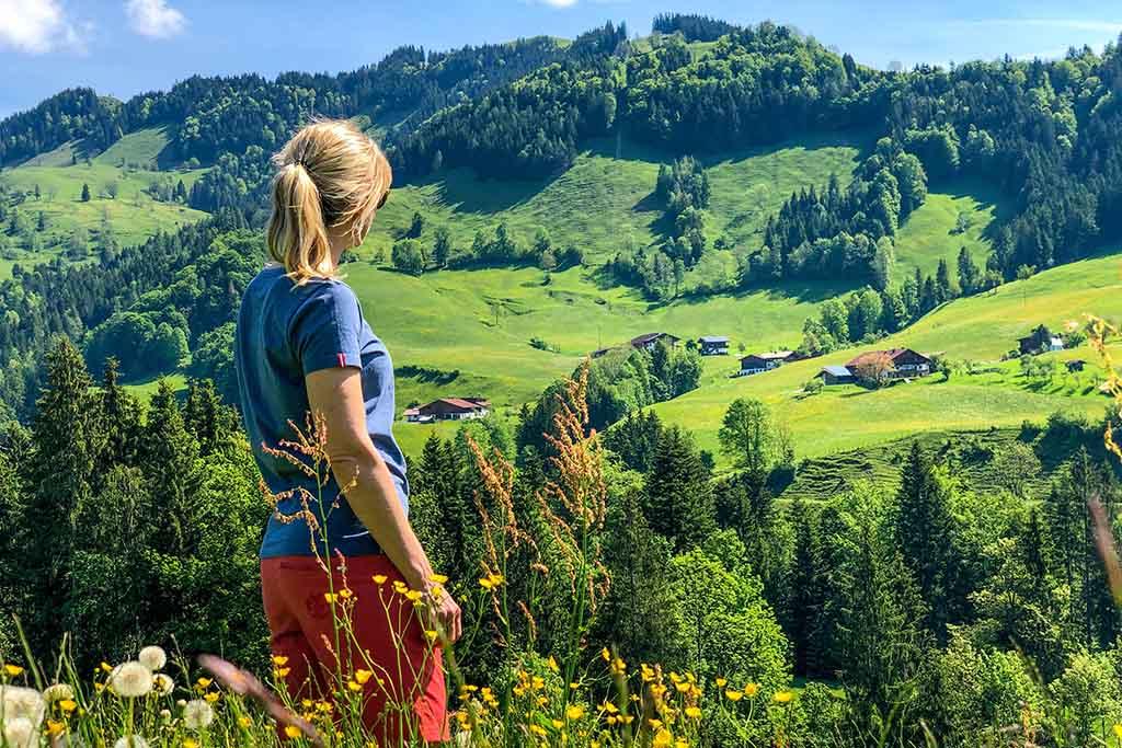 Bergwiesen Wanderer Sonnenschein